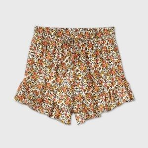 WILD FABLE high rise floral ruffle shorts